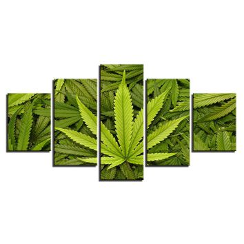 5 Pieces Abstract Green Leaves Marijuana Pot Canibus Pictures For Living Room