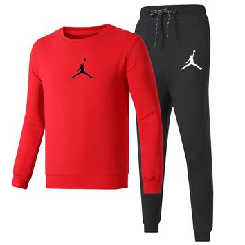 Jordan Autumn And Winter New Fashion Print Long Sleeve Top And Pants Women Men Sports Leisure Two Piece Suit Red