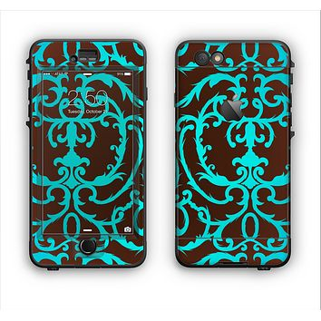 The Blue and Brown Elegant Lace Pattern Apple iPhone 6 Plus LifeProof Nuud Case Skin Set