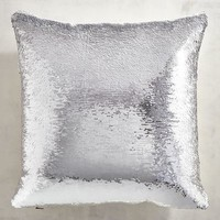 Silver & White Sequined Mermaid Pillow