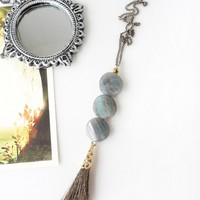Gray Labradorite Stones Y Style Necklace with Tassel