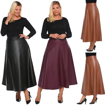 Women Plus Size Synthetic Leather High Waist Flared A-Line Maxi Long Skirt