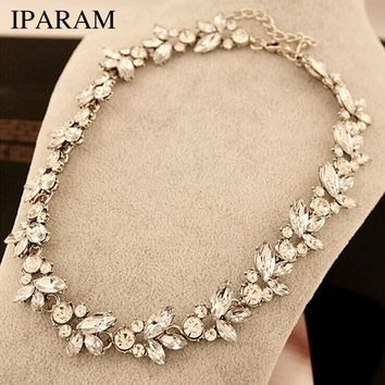 2018 New wholesale Hot Women Accessories Bohemia Style Luxury Crystal Flower Choker Bib Statement Necklace For Wedding Party
