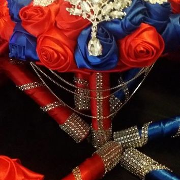 Red Royal Blue Hanging Crystal Satin Rose Wedding Bouquet Collection