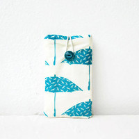 Umbrella Iphone case, hand printed fabric, cell phone sleeve, iphone cover, Iphone 5s 5c 4s, samsung galaxy s2, handmade in the UK