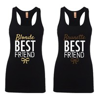 Blonde and Brunette Best Friends Girl BFFS Jersey Racerback Tank Tops