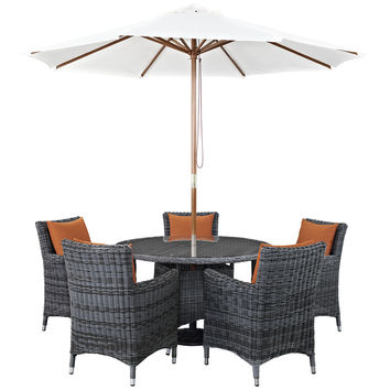LexMod Summon 7 Piece Outdoor Patio Sunbrella Dining Set in Canvas Tuscan