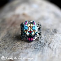 Day of the Dead Slobbering Pit Bull Sugar Skull Dog Adjustable Ring
