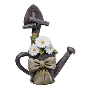 Watering Can w/Tools and Flowers - Resin Block - Decor