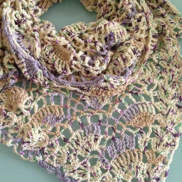 Handmade Large Multicolored Crochet Summer Shawl Scarf - Ready to Ship - Crochet Shawl, Sand Mauve Green, Evening Shawl, Lightweight Shawl