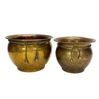 Brass Planters Rope Tassel Pair Flower Pots Round Plant Containers Succulent Holders Indoor Garden Cachepots Aged Gold Patina