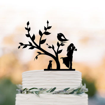 Bride and groom silhouette Wedding Cake topper with dog, cake topper wedding, wedding cake topper with tree and bird, family cake topper
