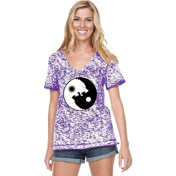 Yoga Clothing For You Yin Yang Wolves Burnout V-neck Yoga Tee Shirt