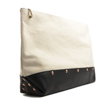 Grand Hanh Supreme Quality Waxed Canvas Italy leather clutch / canvas clutch / oversized clutch / clutch bag / waxed bag / waxed canvas bag