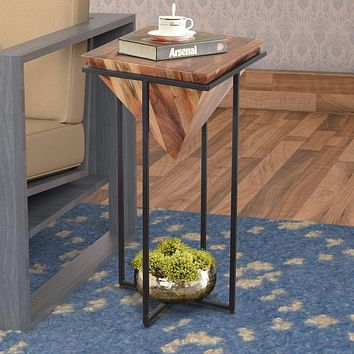 30 Inch Pyramid Shape Wooden Side Table With Cross Metal Base, Brown and Black By The Urban Port