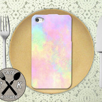 Pastel Watercolor Rainbow Pink Cute Tumblr Inspired Art Custom Rubber Tough Phone Case For The iPhone 4 and 4s and iPhone 5 and 5s and 5c