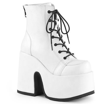 Demonia - CAMEL-203 - White Vegan Leather - Women's Ankle Boots