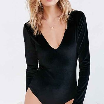 Out From Under Velvet Plunging Bodysuit