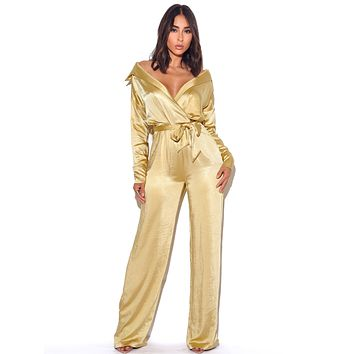 Off Shoulder Yellow Satin Jumpsuit