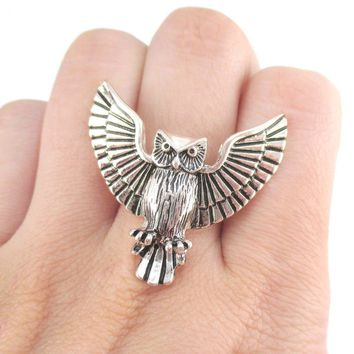 Majestic Owl with Wings Spread Shaped Animal Ring in Silver