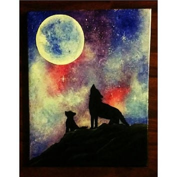 Wolf painting on canvas, galaxy painting colorful, mom and baby wolf, colorful galaxy painting, moon and galaxy on canvas, Hand painted art