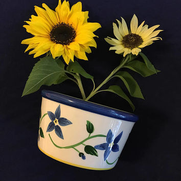 Blue Daisy Planter Vintage Ceramic Blue White Green and Yellow Plant Container Floral Candle Potpourri Holder Dish