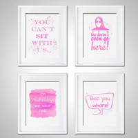Watercolor Art Print Mean Girls Set of 4 Modern 5x7 8x10 Wall Art Decor Illustration Dorm Room Decor Pink Watercolor Print Boo You Print