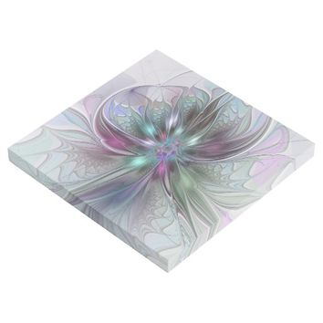 Colorful Fantasy Abstract Modern Fractal Flower Gallery Wrap