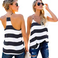2019 New Striped Women V-Neck Casual Vest Tops Sleeveless Summer Loose Tank Top Clothes T-shirt Singlet Tops S-XL