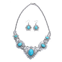 Plant Flower Turquoise Jewelry Sets Women Party Accessories Turquoise Retro Antique Silver Plated Necklace Earring Jewelry Set