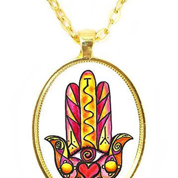 Love and Relationship Protection Hamsa Huge 30x40mm Bright Gold Pendant with Chain Necklace