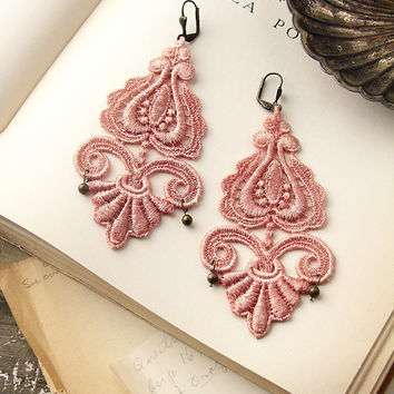 lace earrings LEILA nude pink by whiteowl on Etsy