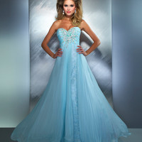 Mac Duggal Prom 2013 - Ice Blue Sequin & Rhinestone Strapless Prom Gown - Unique Vintage - Cocktail, Pinup, Holiday & Prom Dresses.
