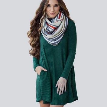 DCCKL72 Fashion Long Sleeve Knit Dress With Pocket for Women Winter Autumn