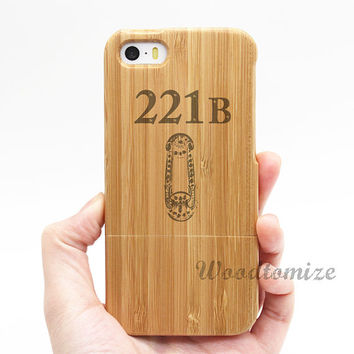 Real wood case, Sherlock 221B door, iPhone 5C case, iPhone 5S 5 case, Wood cover, Bamboo, FREE screen protector [A22]