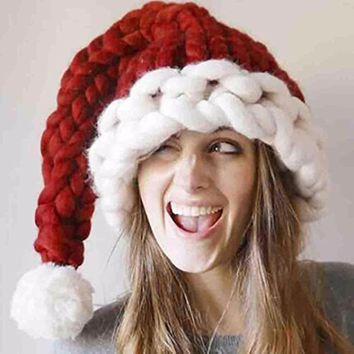 Autumn And Winter Unisex Handmade Knitting Hat Santa Claus Hats Christmas Gift Wool Hat Warm Long Tail For Women Men Adults