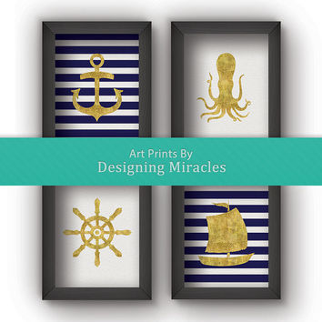 "Nautical Art Print, Nautical Print With Gold Foil Blue And White Strips 4 Piece Print Set Nautical Nursery Art Letter Size 8.5"" by 11"""