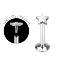 316L Surgical Steel Internally Threaded Labret Monroe with 3mm Star Flat Top - 16G - 3/8