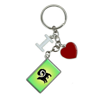 Skunk I Heart Love Keychain