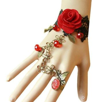 DCCKV2S QTMY Black Lace Adjustable Red Rose Finger Ring Bracelet Jewelry Set Gift for Women Girl