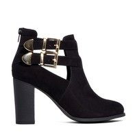London Rebel Cut Out Strap Ankle Boots - Black