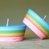 Rainbow Candle Cupcake Multi-coloured. Natural.