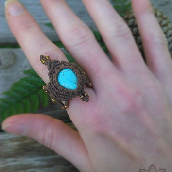 Micro Macrame Ring | Howlite + Gold Plated Beads | Organic Hemp Jewelry | Gypsy Boho