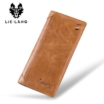 Leather Men Long Design Passport Classic Purse Card Holder Multi-function Wallet