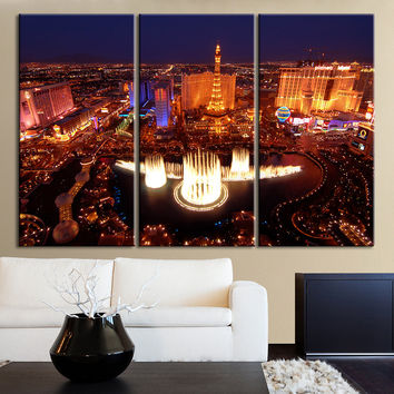 Large Wall Art Las Vegas Canvas Print - 3 Panel Wall Art Canvas Printing - Wall Art Canvas Print - Las Vegas Skyline Art Print