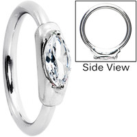 Silver 925 14 Gauge Clear Oval Austrian Crystal Closure Ring | Body Candy Body Jewelry