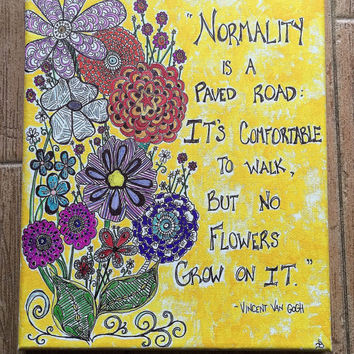 Canvas quote art / Vincent Van Gogh quote / flower artwork / wall art quotes / flower canvas art / 8x10 inch canvas / zentangle art