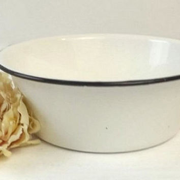 Vintage White Enamelware Bowl with Black Trim, Primitive Country Farmhouse Kitchen Decor