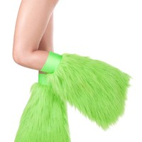 Clubstyle Green Sparkle Fluffies : Metallic GoGo Fluffy Leg Warmers