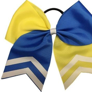 Softball Hair Bow- Yellow & Blue